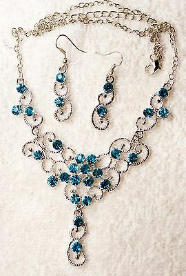 jewelry set aqua crystal necklace earrings silver tone matching set