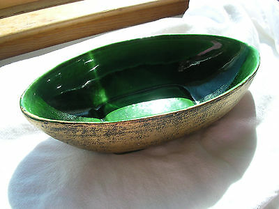 VINTAGE MID CENTURY COLLECTOR's CALIFORNIA USA P-14 Green Gold Black OVAL DISH