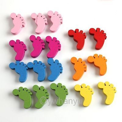 Free Postage 100pcs Mixed Little Feet Wooden Spacer Beads 22mm a05623
