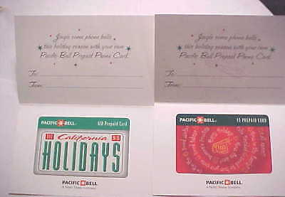 Rare PACIFIC BELL PREPAID CARDS  JINGLE BELLS Holiday 4 Different MINT