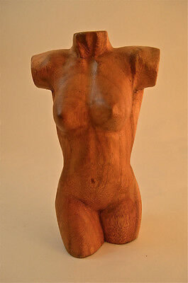 BEAUTIFUL HANDCARVED FEMALE TORSO SCULPTURE SOLID WOODEN HUMAN BODY CARVING GB18