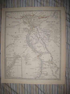 Huge Antique 1831 Egypt Sduk Very Detailed Map Arabia Nubia Gorgeous Rare Nr