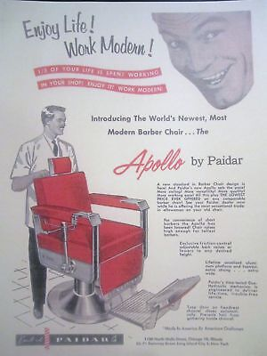 Vintage Paidar Apollo Barbershop Chair Photo Sign Ads