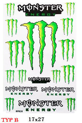 """ MONSTER "" Stickers Aufkleber für Dirtbike Crosser 17x27cm transparent"