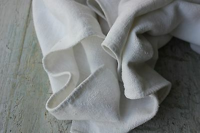 Antique French PURE linen DB mono hand kitchen towel 18th / 19th old bath 21X43