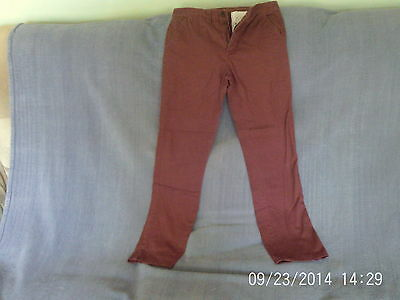 Boys 11-12 Years - Red Brown Slim Fit Trousers - Denim Co.