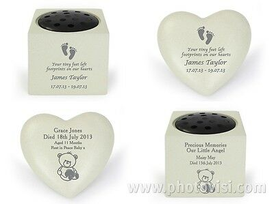 Personalised Child Baby Grave Memorial Vase Ornaments Stones Remembrance Plaque