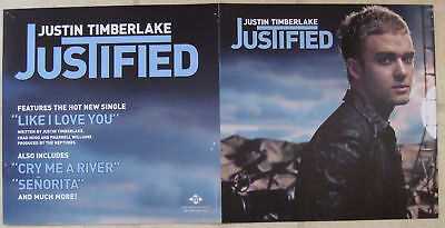 "JUSTIN TIMBERLAKE 2002 ""justified"" 2-SIDED PROMOTIONAL DISPLAY POSTER"