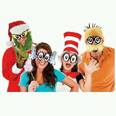 Dr Seuss Characters Cartoon Eyes Set Costume Glasses grinch horton lorax anime