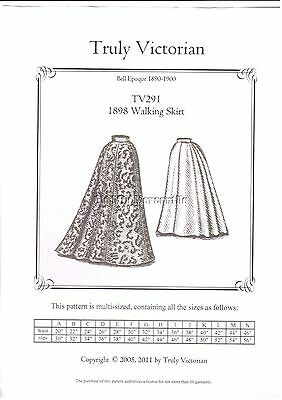 Truly Victorian sewing patterns Victorian SASS style1898 walking skirt TV291