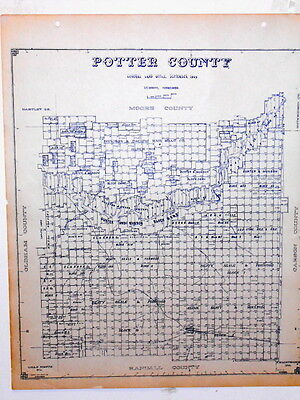 Old Potter County Texas Land Office Owner Map Amarillo Bishop Hills Bushland