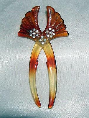 VINTAGE ~ Curved  Rhinestone Hair Comb  ~ Faux Tortise Shell