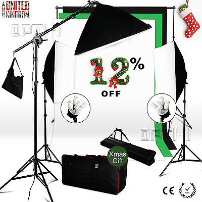 Photo 2850W Softbox Continuous lighting Kit Boom arm Studio 3 Background + Stand