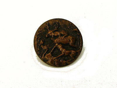 Antique Victorian Era Pictorial Picture Button Brass Dogs Hunting Deer Stag