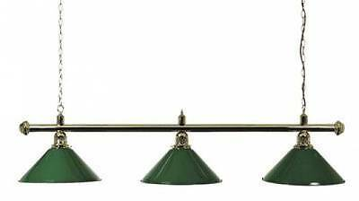 Pool Table Lighting Brass Canopy Bar And 3 Green Metal Shades