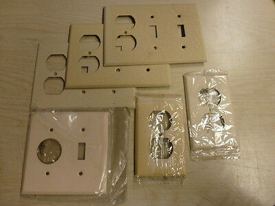 NOS! Lot of (6) BELL IVORY CRACKLE, SINGLE GANG, 2 & 3 GANG  WALL PLATES