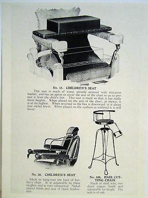1935 Paidar 3 Vintage Childrens Barber Chairs Leather/Copper Sign Ad