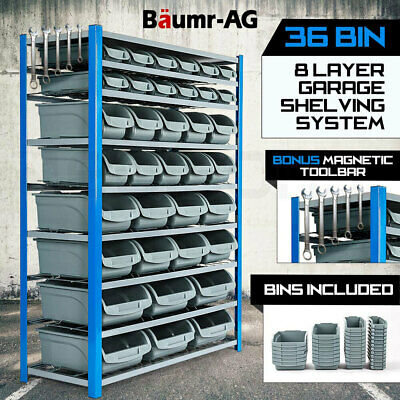 NEW BAUMR-AG Garage Storage Rack 36 Bin Parts Shelving Workshop System Shelves