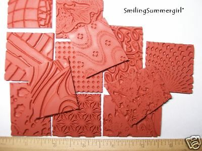 Texture Rubber Art Stamp Grab Bag 12 Deep Etched Design
