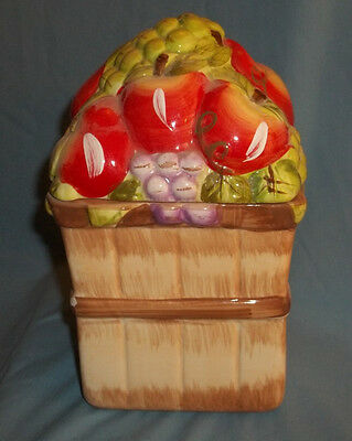 "Apple And Grapes Cookie Or Treat Jar, Marked "" Alco Industries Inc""  Desk Size"