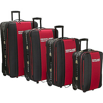 Rockland Luggage Polo 4 Piece Luggage Set - Black & Red