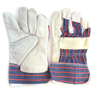2-Pair Blue Gray & Red Work Gloves Leather Palm XL Size 10