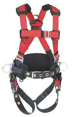PROTECTA 1191209 Full Body Harness, M/L, 420 lb., Red/Gray