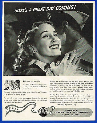1944 Magazine Ad American Railroads Soldier Comes Home From War to Wife #3046