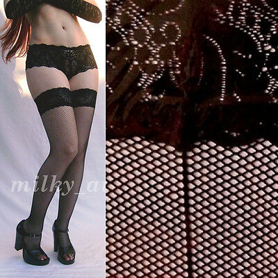 Fine FISHNET Back-Seam SILICONE Lace-Top THIGH-HIGH Stay-Ups STOCKINGS Burlesque