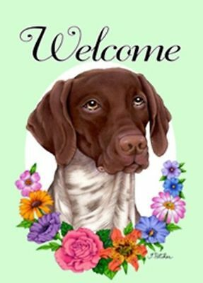 Outdoor Flag GERMAN SHORTHAIR POINTER Welcome Flowers Garden Flag