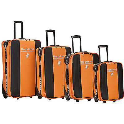 Rockland Luggage Polo 4 Piece Luggage Set - Orange