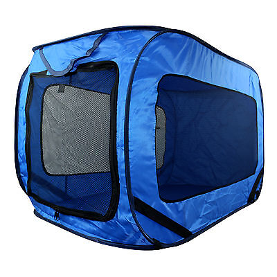 Kennel Dog Canvas Pop Up Travel Cage Run Light Weight Portable Blue Mesh Puppy