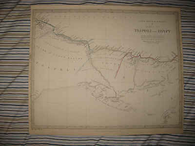 Large Antique 1830 Tripoli Egypt North Africa Barbary Coast Sduk Map Tribes