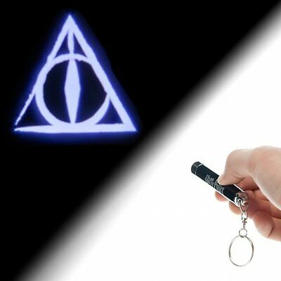Harry Potter The Deathly Hallows Logo Projection Flashlight Keychain, NEW UNUSED