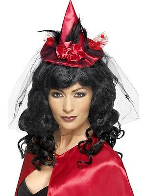 NEW Witches Mini Hat Fasinator Ladies Halloween Witch Fancy Dress Accessory Red
