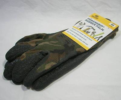 Red Steer Camouflage Camo Power Grip Rubber Palm Hunting Fishing Gloves Mens Med