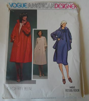 Vogue American Designer Geoffrey Beene Pattern 1492 Size  8 Uncut Ff Dress &Coat