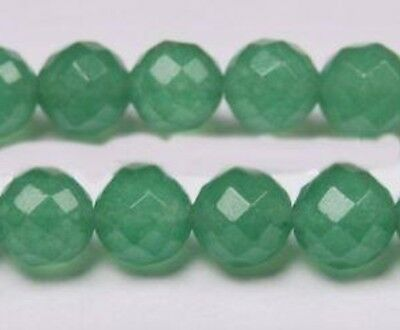 "6mm Natural Light Green Emerald Faceted Loose Beads Gemstone 15"" Strand"