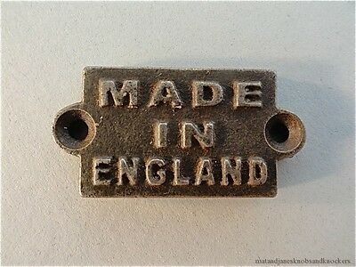 Fantastic Small Made In England Cast Iron Plaque Furniture Label Sign Mount