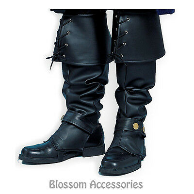 A592 Mens Black Deluxe Pirate or Santa Costume Boot Top Covers Costume Accessory