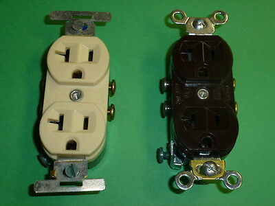 NOS! EAGLE RECEPTACLE 20A-125V, 2-POLE 3-WIRE EZ-GROUNDING BROWN / IVORY