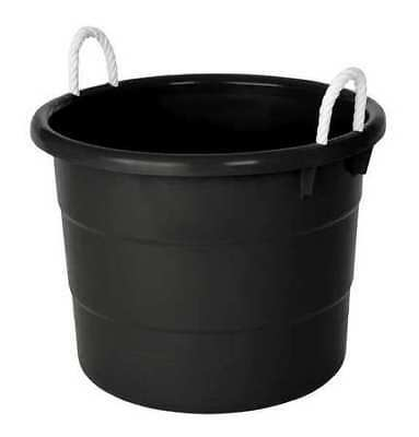 ZORO SELECT 0402GRBK.08 Storage Tub w/ Rope Handles, 18 Gal, Black