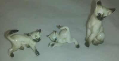 Vintage Set 3 Bone China Miniature Siamese Cat & Kittens Figurines Gloss Japan