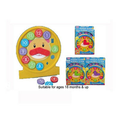 Funtime Puzzle Clock Teach Time Shape Sorter Educational Toy Toddler 18 months+