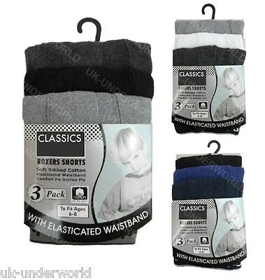 3 Pairs Childrens Kids Boys Classic Ribbed Cotton Boxer Shorts Trunks Briefs