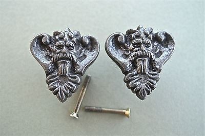 Pair Of Antique Style King Head Cast Iron Furniture Knob Drawer Door Handle Wh44