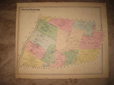 1869 Antique South Windsor Hartford County Connecticut Handcolored Map Superb Nr