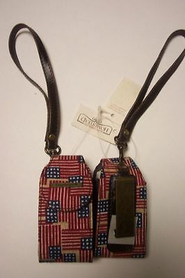 New Longaberger Old Glory fabric small case w/ clip & wrist strap cute gift NWT