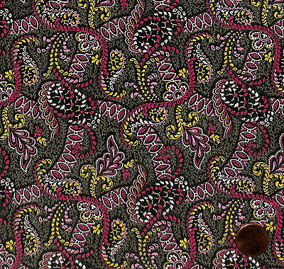 Antique 1890 Green Coral Ground Fabric