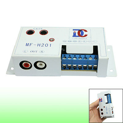 Dual Outport Car Speaker to RCA Audio Amplifier Converter White